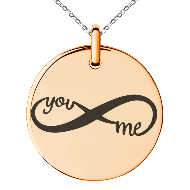 Stainless Steel You and Me Infinity Engraved Small Medallion Circle Charm Pendant Necklace - Tioneer