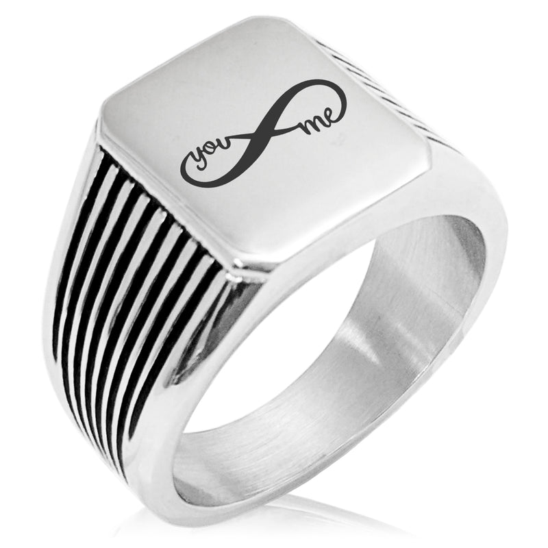 Stainless Steel You and Me Infinity Needle Stripe Pattern Biker Style Polished Ring - Tioneer