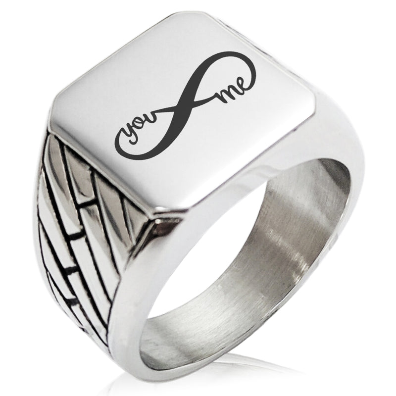 Stainless Steel You and Me Infinity Geometric Pattern Biker Style Polished Ring - Tioneer
