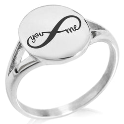 Stainless Steel You and Me Infinity Minimalist Oval Top Polished Statement Ring - Tioneer