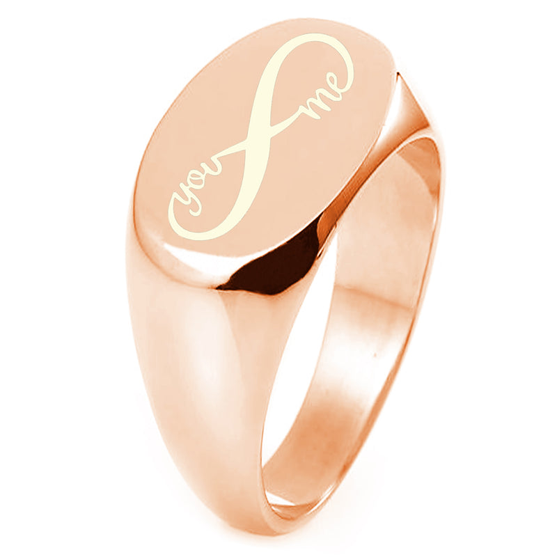 Sterling Silver You and Me Infinity Engraved Oval Flat Top Polished Ring - Tioneer