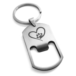 Stainless Steel Dog Paw Heart Engraved Bottle Opener Dog Tag Keychain Keyring - Tioneer