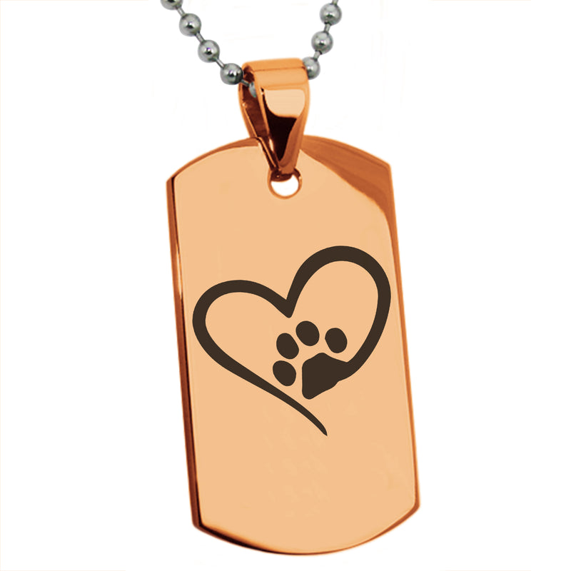 Stainless Steel Dog Paw Heart Engraved Dog Tag Pendant Necklace - Tioneer