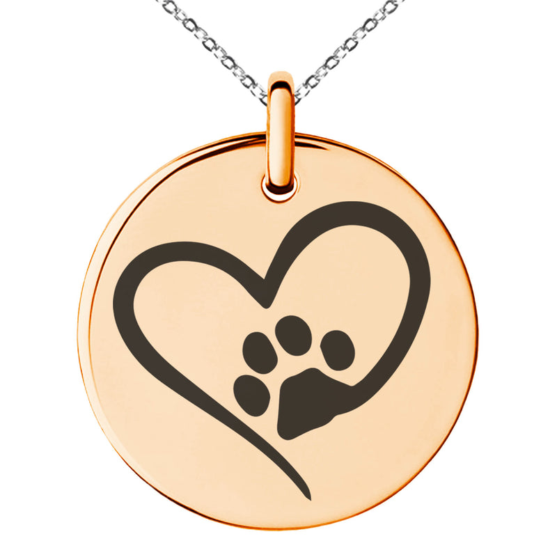 Stainless Steel Dog Paw Heart Engraved Small Medallion Circle Charm Pendant Necklace