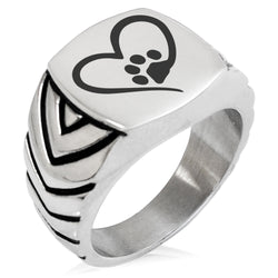 Stainless Steel Dog Paw Heart Chevron Pattern Biker Style Polished Ring - Tioneer