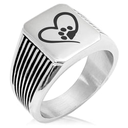 Stainless Steel Dog Paw Heart Needle Stripe Pattern Biker Style Polished Ring - Tioneer