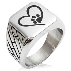 Stainless Steel Dog Paw Heart Geometric Pattern Biker Style Polished Ring - Tioneer