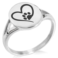 Stainless Steel Dog Paw Heart Minimalist Oval Top Polished Statement Ring - Tioneer