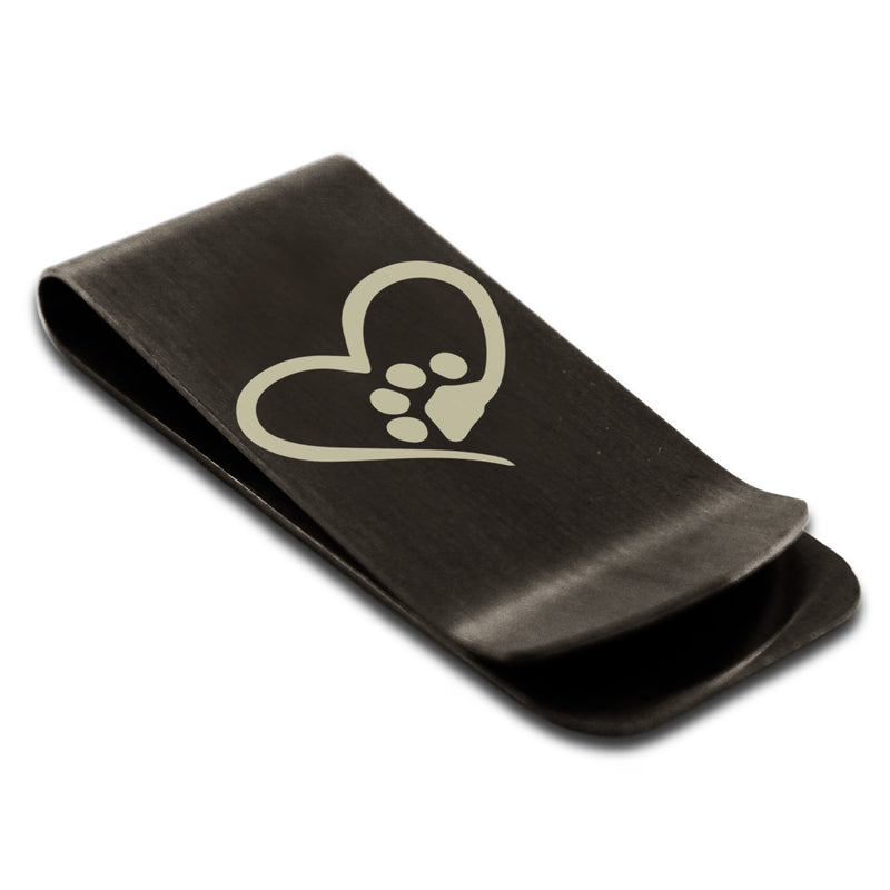 Stainless Steel Dog Paw Heart Engraved Money Clip Credit Card Holder - Tioneer