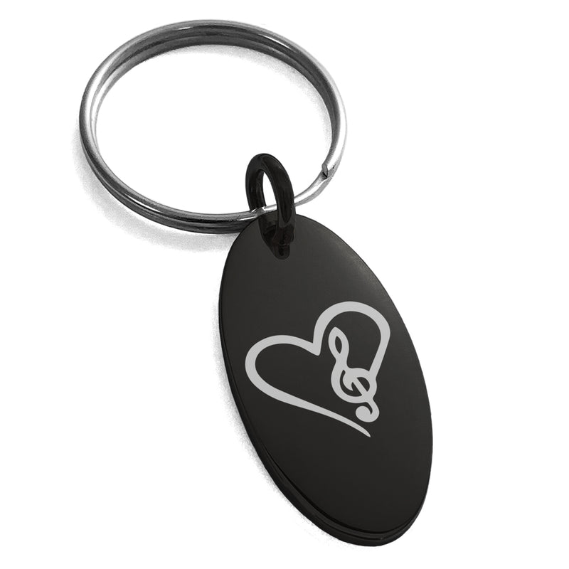Stainless Steel Love Music Treble Clef Heart Engraved Small Oval Charm Keychain Keyring - Tioneer