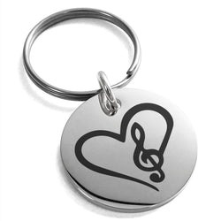 Stainless Steel Love Music Treble Clef Heart Engraved Small Medallion Circle Charm Keychain Keyring - Tioneer