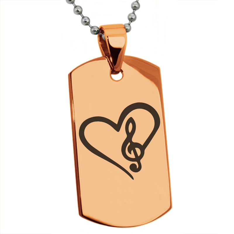 Stainless Steel Love Music Treble Clef Heart Engraved Dog Tag Pendant Necklace - Tioneer