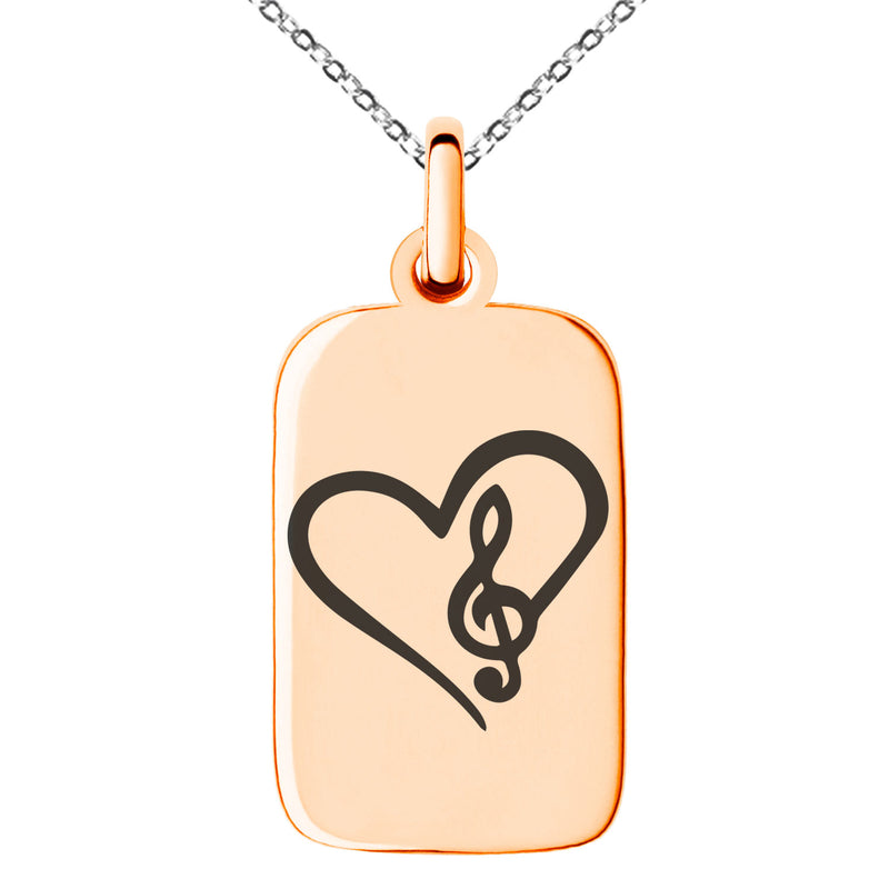 Stainless Steel Love Music Treble Clef Heart Engraved Small Rectangle Dog Tag Charm Pendant Necklace - Tioneer