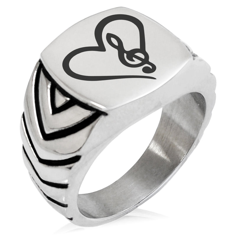 Stainless Steel Love Music Treble Clef Heart Chevron Pattern Biker Style Polished Ring - Tioneer