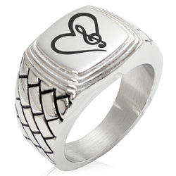 Stainless Steel Love Music Treble Clef Heart Geometric Pattern Step-Down Biker Style Polished Ring - Tioneer