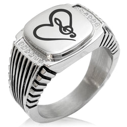 Stainless Steel Love Music Treble Clef Heart CZ Ribbed Needle Stripe Pattern Biker Style Polished Ring - Tioneer