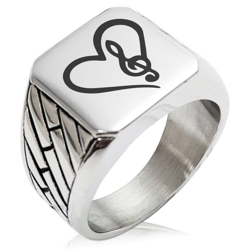 Stainless Steel Love Music Treble Clef Heart Geometric Pattern Biker Style Polished Ring - Tioneer