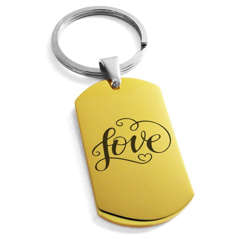 Stainless Steel Love Heart Calligraphy Swirl Engraved Dog Tag Keychain Keyring - Tioneer