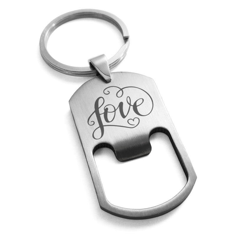 Stainless Steel Love Heart Calligraphy Swirl Engraved Bottle Opener Dog Tag Keychain Keyring - Tioneer