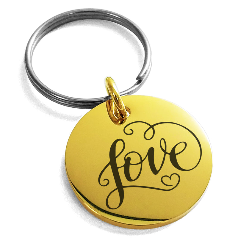 Stainless Steel Love Heart Calligraphy Swirl Engraved Small Medallion Circle Charm Keychain Keyring - Tioneer