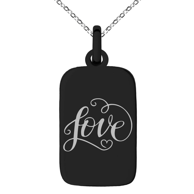Stainless Steel Love Heart Calligraphy Swirl Engraved Small Rectangle Dog Tag Charm Pendant Necklace - Tioneer