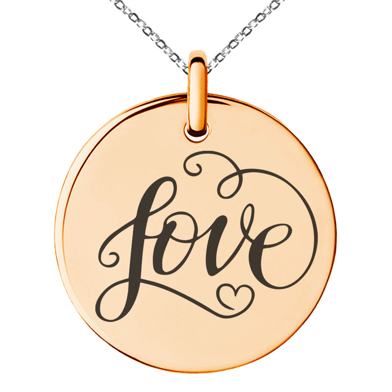 Stainless Steel Love Heart Calligraphy Swirl Engraved Small Medallion Circle Charm Pendant Necklace - Tioneer