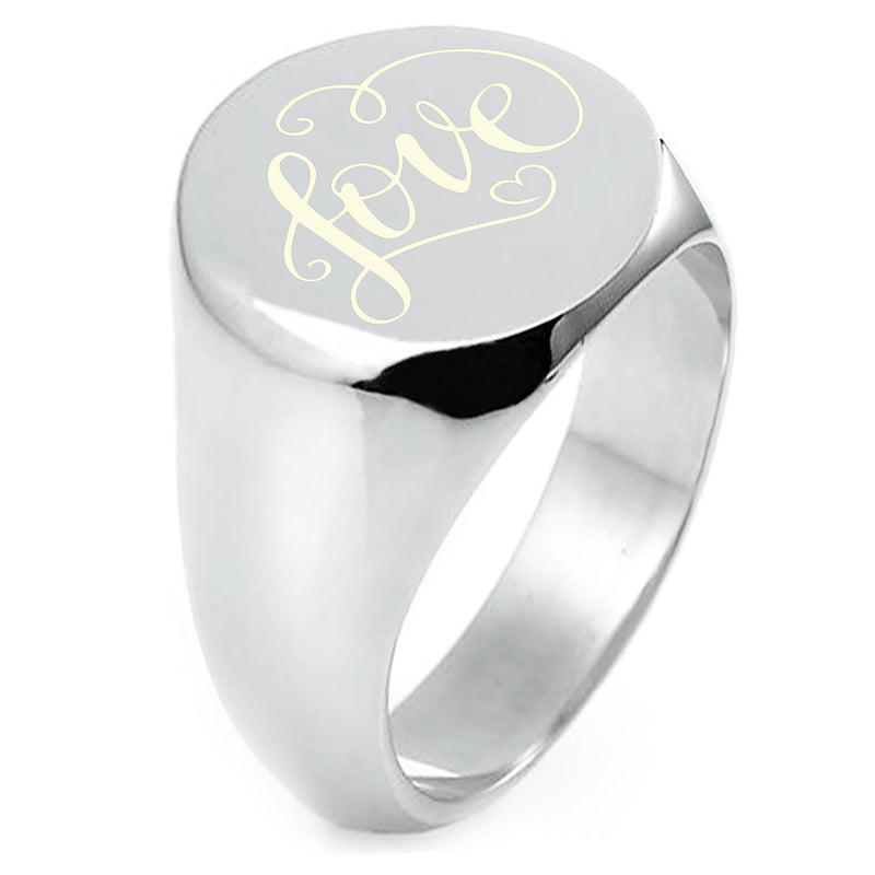 Sterling Silver Love Heart Calligraphy Swirl Engraved Round Flat Top Polished Ring - Tioneer