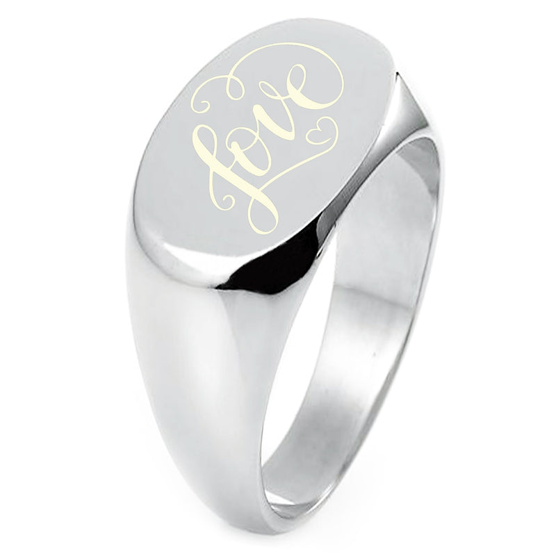 Sterling Silver Love Heart Calligraphy Swirl Engraved Oval Flat Top Polished Ring - Tioneer