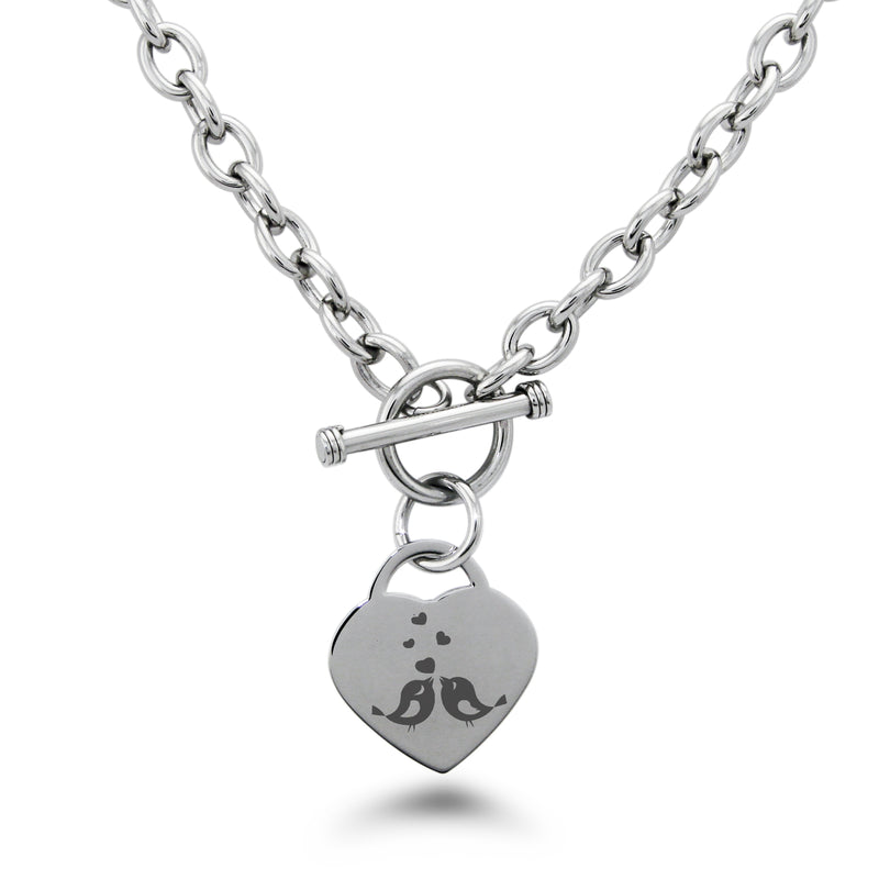 Stainless Steel Lovebirds Heart Engraved Heart Charm Toggle Link Necklace - Tioneer