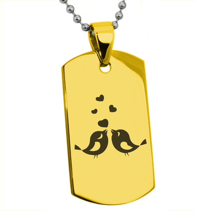 Stainless Steel Lovebirds Heart Engraved Dog Tag Pendant Necklace - Tioneer