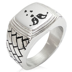Stainless Steel Love Heart Calligraphy Swirl Geometric Pattern Step-Down Biker Style Polished Ring - Tioneer