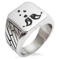 Stainless Steel Love Heart Calligraphy Swirl Geometric Pattern Biker Style Polished Ring - Tioneer