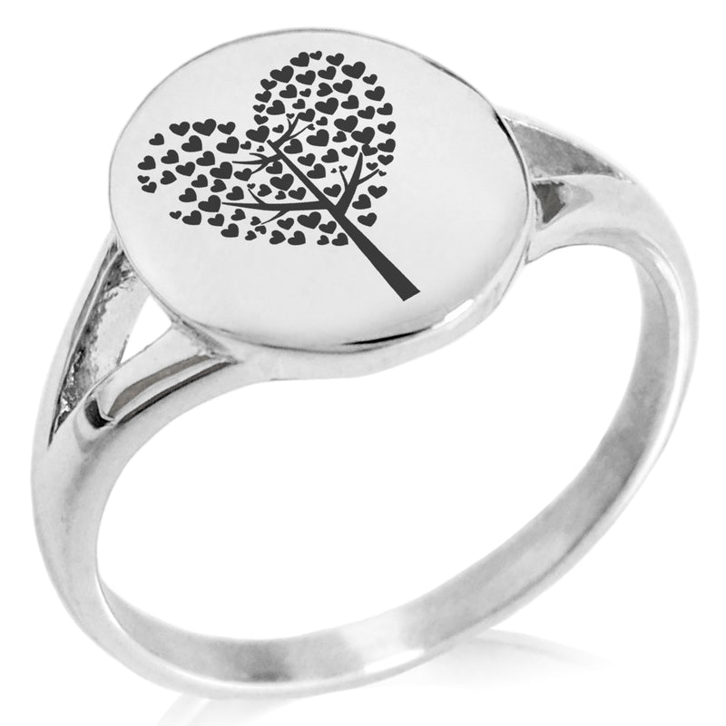 Stainless Steel Tree of Hearts Minimalist Oval Top Polished Statement Ring - Tioneer
