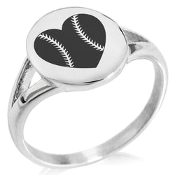 Stainless Steel Love Baseball Heart Minimalist Oval Top Polished Statement Ring - Tioneer