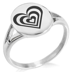 Stainless Steel Hypnotic Love Heart Minimalist Oval Top Polished Statement Ring - Tioneer
