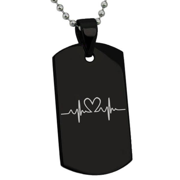 Stainless Steel Love Heart Lifeline Engraved Dog Tag Pendant Necklace - Tioneer