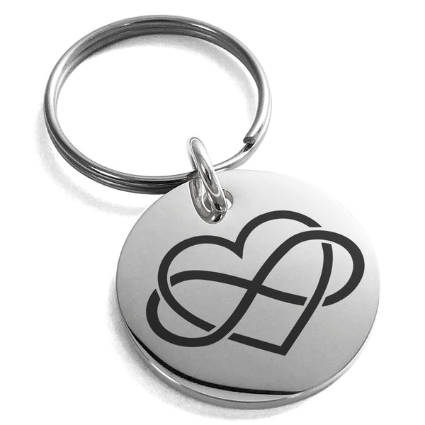 Stainless Steel Intertwined Infinity Heart Engraved Small Medallion Circle Charm Keychain Keyring - Tioneer