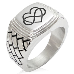 Stainless Steel Intertwined Infinity Heart Geometric Pattern Step-Down Biker Style Polished Ring - Tioneer