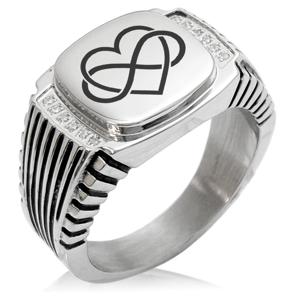 Stainless Steel Intertwined Infinity Heart CZ Ribbed Needle Stripe Pattern Biker Style Polished Ring - Tioneer