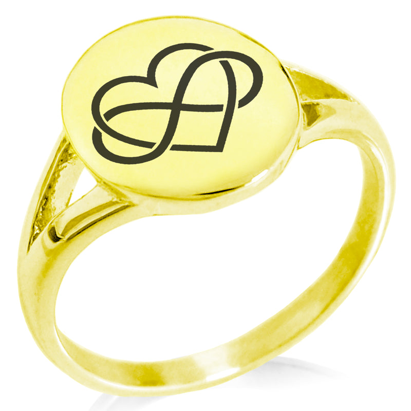 Stainless Steel Intertwined Infinity Heart Minimalist Oval Top Polished Statement Ring - Tioneer