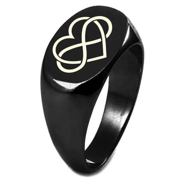 Sterling Silver Intertwined Infinity Heart Engraved Oval Flat Top Polished Ring - Tioneer