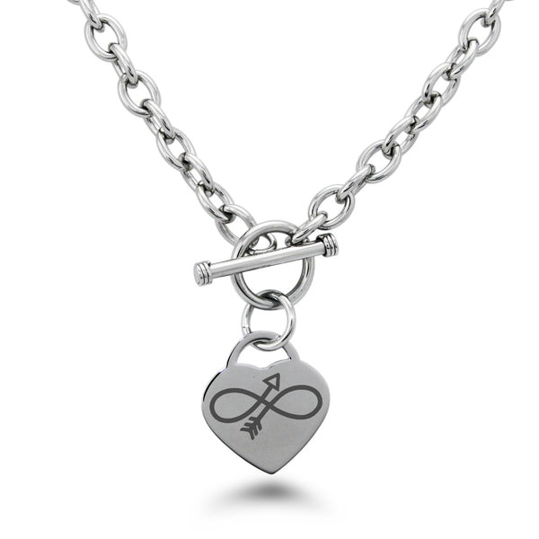 Stainless Steel Infinity Arrow Engraved Heart Charm Toggle Link Necklace - Tioneer