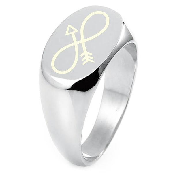 Sterling Silver Infinity Arrow Engraved Oval Flat Top Polished Ring - Tioneer
