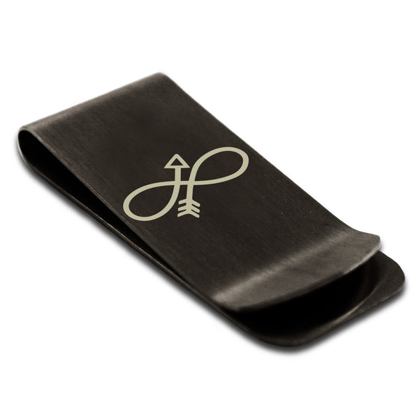 Stainless Steel Infinity Arrow Engraved Money Clip Credit Card Holder - Tioneer