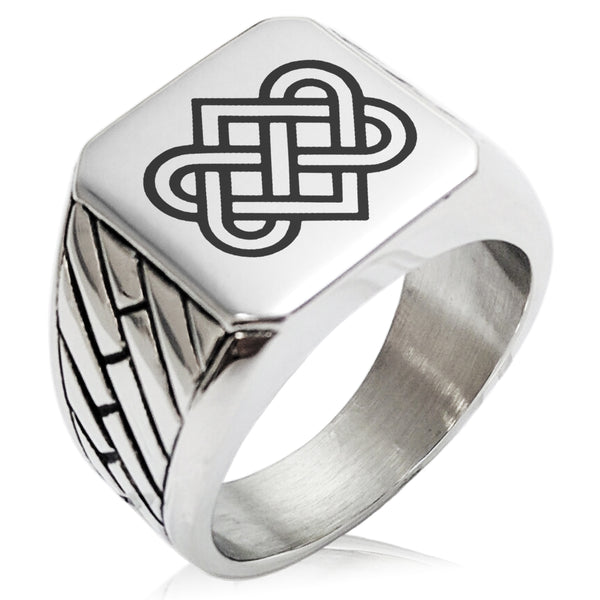 Stainless Steel Irish Heart Love Knot Geometric Pattern Biker Style Polished Ring - Tioneer