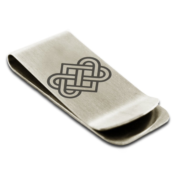 Stainless Steel Irish Heart Love Knot Engraved Money Clip Credit Card Holder - Tioneer