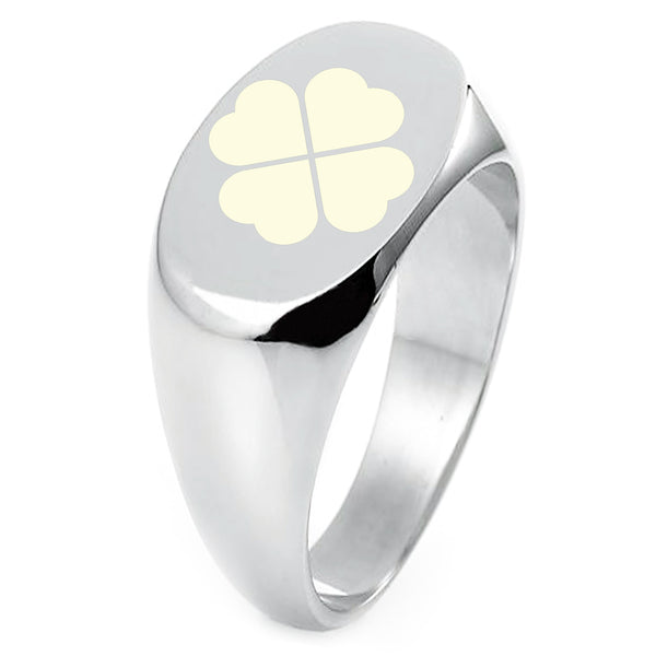 Sterling Silver Four Leaf Clover Heart Engraved Oval Flat Top Polished Ring - Tioneer