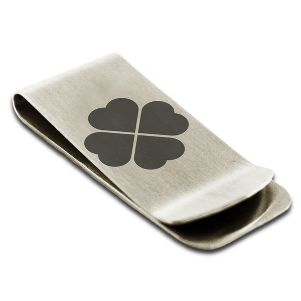 Stainless Steel Four Leaf Clover Heart Engraved Money Clip Credit Card Holder - Tioneer