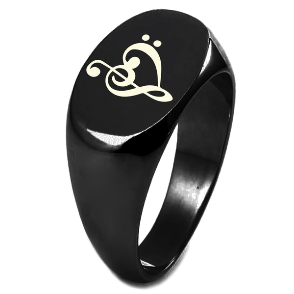 Sterling Silver Treble Bass Clef Musical Heart Engraved Oval Flat Top Polished Ring - Tioneer