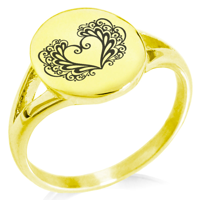 Stainless Steel Floral Filigree Heart Minimalist Oval Top Polished Statement Ring - Tioneer